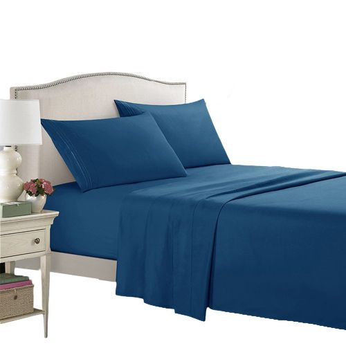 Bed Supplies Printing Set Washable Quilt Cover Bed Sheet Pillow Cases Kit Navy Blue