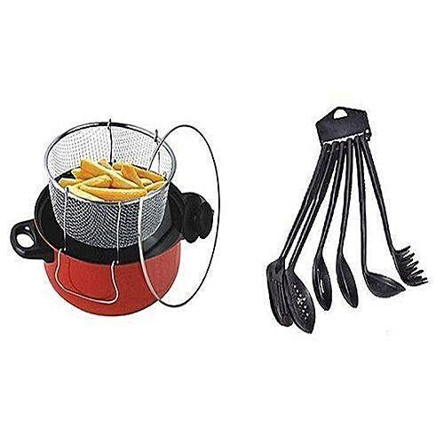 Quality Kitchen Bundle- 1 Deep Na Fryer/ Food Steame, 1 Set Of Non-stick Frying Spoon Set