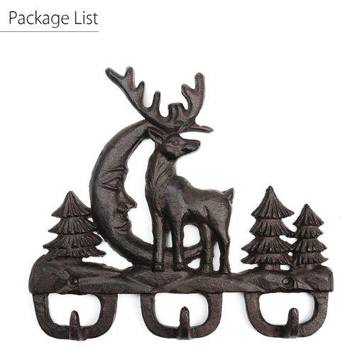 Vintage Animal Iron Deer Head 3 Hook Key Rack Coat Wall Hat Hanger Decoration