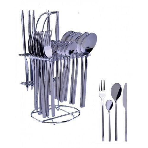 24 Pcs-Stainless Steel Cutlery Set-Of Eating &Tea Spoon+Knife+Fork & Stand