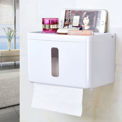 Honana BX Sucker Wall Mounted Tissue Box Bathroom Fixture Plastic Roll Paper Shelf Holder