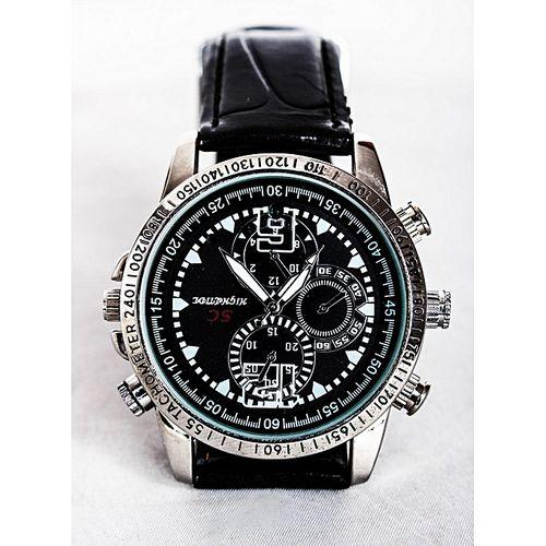 Leather Hidden Camera Watch - Black