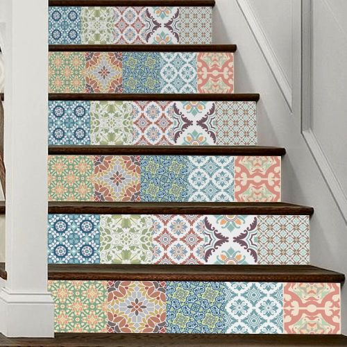 Lodaon Mediterranean Style DIY Removable Stair Sticker Home Decor Ceramic Tiles Pattern