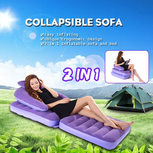 Nflatable Sofa Air Bed Couch Single Sofa Chair Outdoor W/ Air Pump