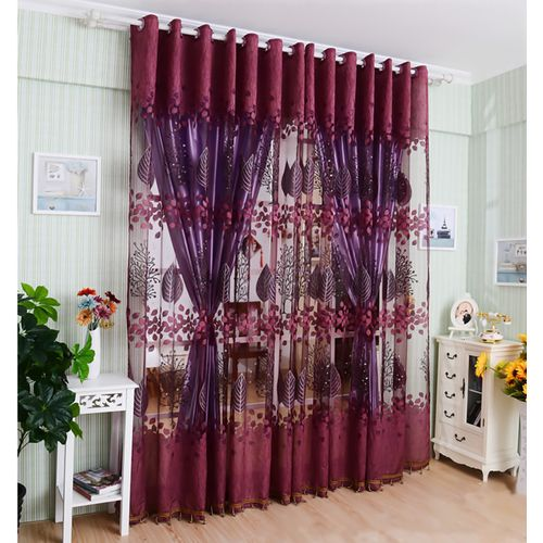 Living Room Floral Tulle Door Curtain Drape Panel Sheer Valances Glass Yarn Curtains