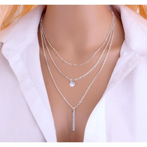 Women Bead Chain Sequins Strip Multi Layer Necklace - Silver