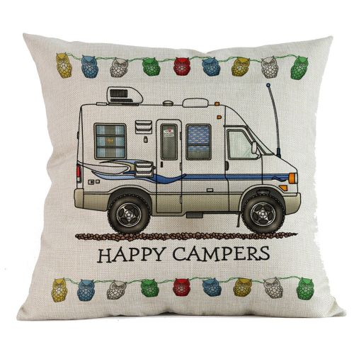 Fashion Happy Campers Cotton Linen Pillow Sofa Case Waist Throw Cushion Cover Home Decor