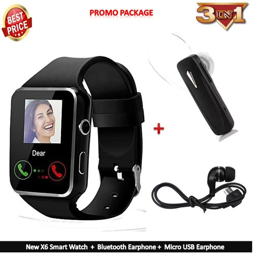 New X6 Smart Watch Phone For Apple IPhone Android Phone [+ Bluetooth Earphone/Extra Battery/Micro USB Earphone] - Black