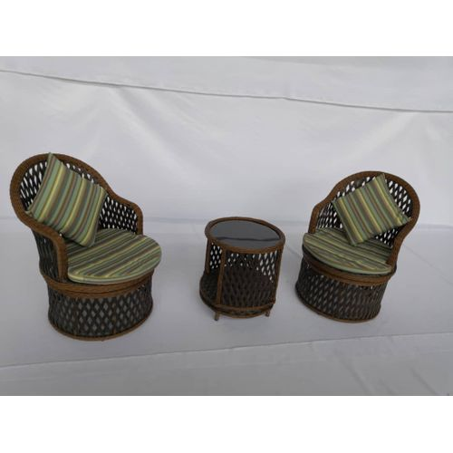 Iron Frame Chair With Rattan Material As A Covering