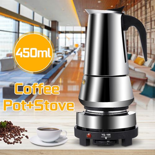 450ML 9 Cup Espresso Coffee Maker Fliter Top Machine Pot +Electric