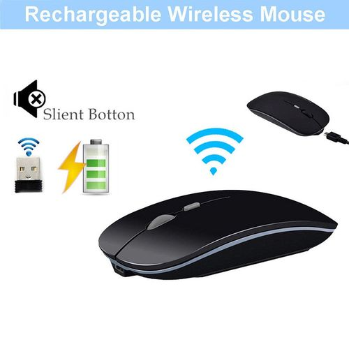 Rechargeable Wireless Mouse Silent Button Ultra Thin USB