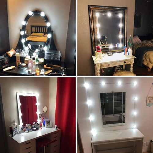 Vanity Lights Kit Hollywood Style Makeup Light Bulbs With Stickers Attached To Bathroom Wall Or Dressing Table Mirrors, With Dimmable Switch And Power Plug, Daylight, Mirror Not Included