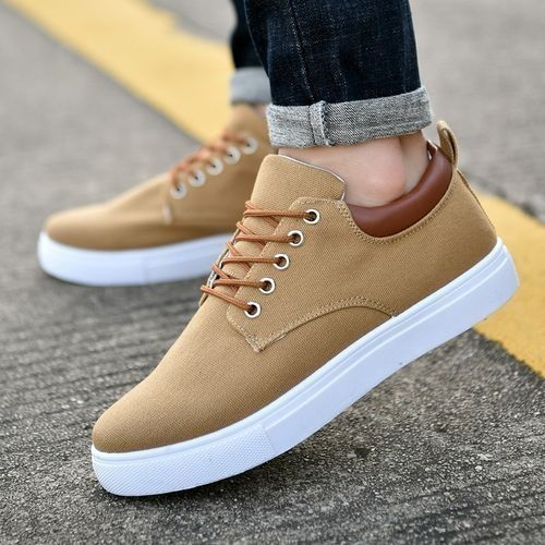 Solid Color Men's Breathable Lace-up Canvas Sneakers - Khaki