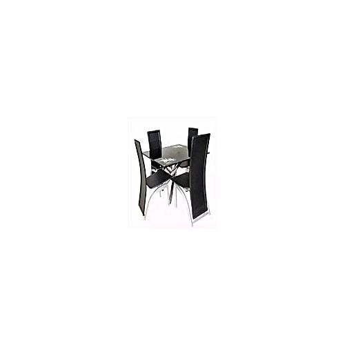 Square Black Dinning Table + 4 Leather Chairs