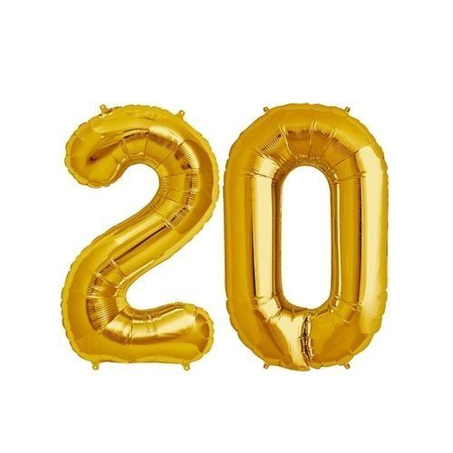 GOLD - Number 20 Birthday Ballons - Gold