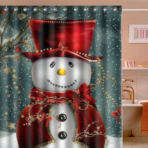 Merry Christmas Snowman Waterproof Bathroom Bath Shower Curtain Hooks Set US ?