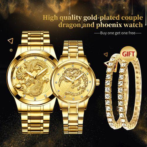 4 In 1 FNGEEN Luxury Waterproof Luminous Couple Dragon Phoenix Watches+Couple Zircon Bracelet