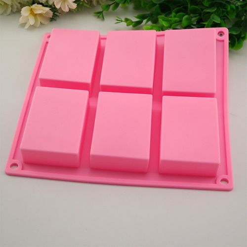 Houseworkhu 6 Cavity Plain Basic Rectangle Silicone Mould For Homemade Craft Soap Mold -Pink