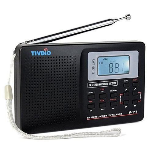 TIVDIO V-111 MW / FM /SW Stereo Radio 9KHz World Band Digital Tuning Radio LCD Display Outdoor Radio