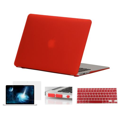4in1 Hard Matte Case Cover For Macbook Air 11 Air 13 Pro 13 15 Touchbar 2016 New Retina 12 13 15 Keyboard Skin+Screen Protector(Red)