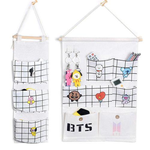 1Set Bt21 Canvas Storage Bag Wardrobe Hang Bag Wall Pouch