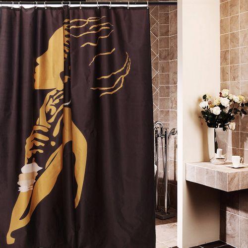 "66x72"" Inch African Black Women Shower Curtain"