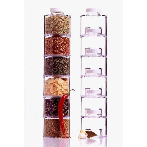 6 Spice Tower Stacking Bottles With Sifter Lids