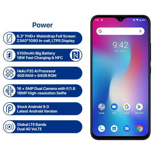 Power Android 9.0 Helio P35 Octa Core 5150mAh 4GB RAM 64GB ROM 6.3' FHD+ Waterdrop Screen Smartphone 4G LTE