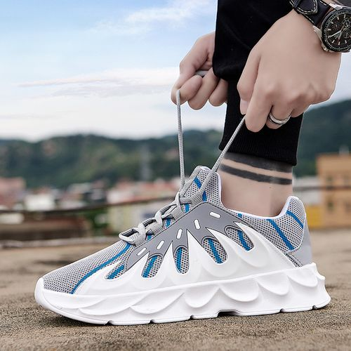 Men Running Shoes Fashion Sneakers Lace Up White