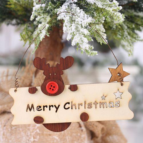 Merry Christmas Wooden Pendant Openwork Letter Elk Home Door Tree Hanging Decor