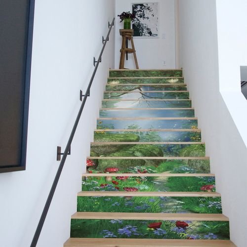 MT Lt13P010 3D Home Stairs Corridor Wall Stickers 13 Pcs