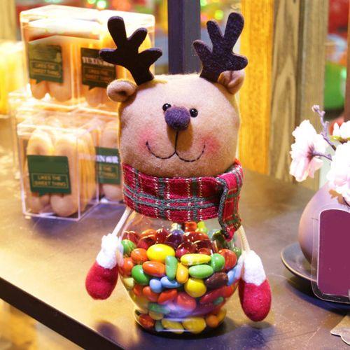 Christmas Candy Storage Bottle Jar Sweet Gift Box Santa