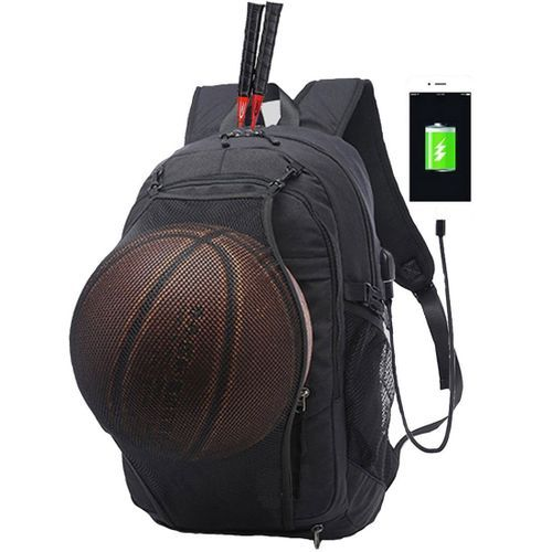 DX Canvas Anti Theft Smart Bag For Basketball/ Football Mesh + Headset Jack + USB Charging Port, Security Travel Backpack & Laptop Bag Water Repellant - Black