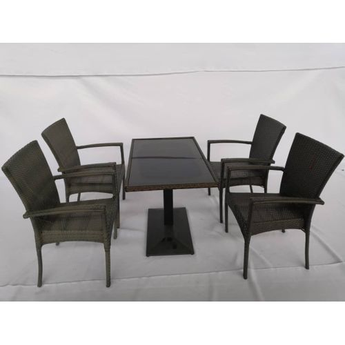 Iron Frame Rattan Material Chair Set With Glass Top Table