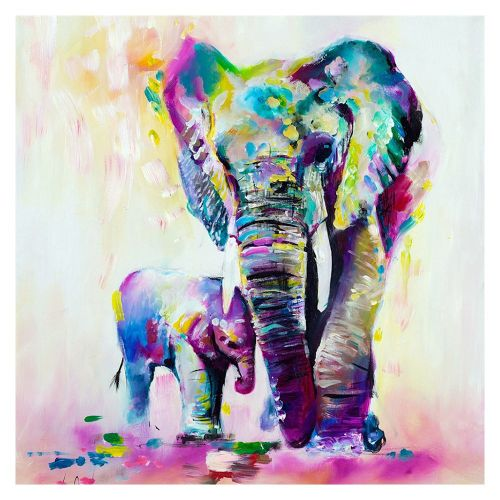 Diy Diamonds Full Of Colorful Elephant P371 Embroidered