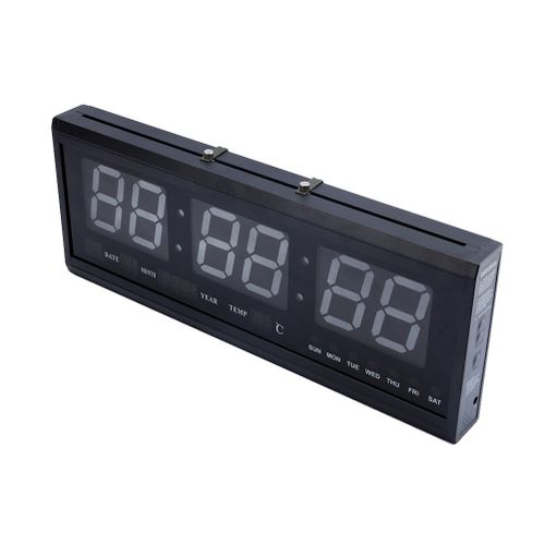 LED Digital Clock Multifunction Large Big Digits LED Wall Desk ALARM Calendar Temperature Clock With Time Memory Function(Blue Digital)