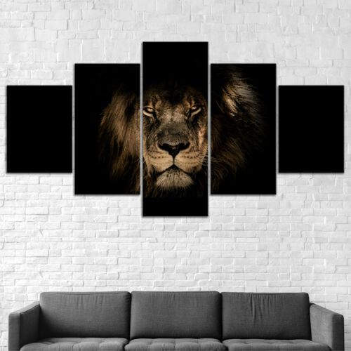 5PCS Modern Lion Prints Canvas Picture Wall Art Home Decor