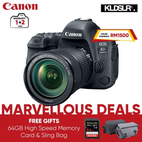 EOS 6D Mark II DSLR Camera With 24-105mm F/4L II Lens(with 64GB Card)(6DII / 6D2)
