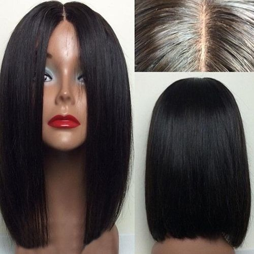 Soft Silky Straight Wigs Japan Fiber Synthetic Lace Front Wigs Middle Part Glueless For Black Women 14 Inch