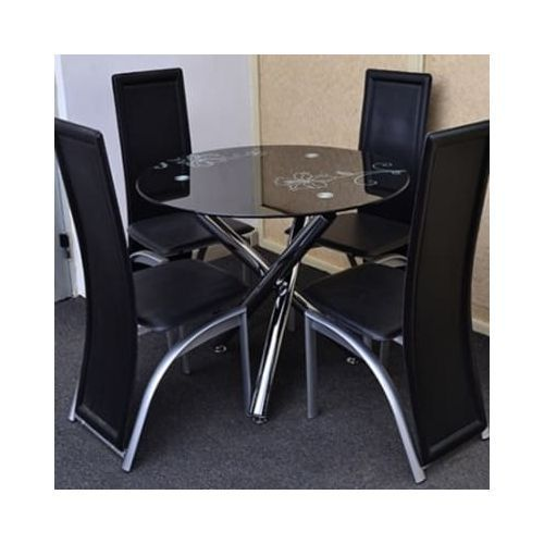 Dining Table+4 Chairs-black