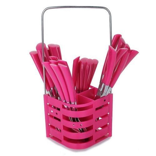 24 Piece Cutlery Set With Caddy - Pink