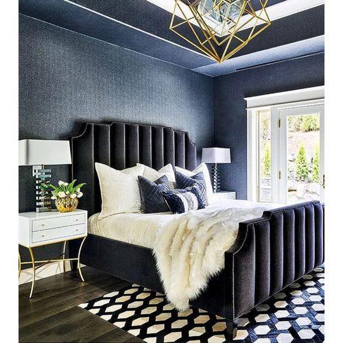 Frandfox Black Bedframe With White Bedsides
