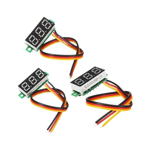 0.28 Inch Mini Digital Voltage Indicator DC 0-100V 3 Cables With Protection Black/Green/Red RC Battery Tester Toys Models