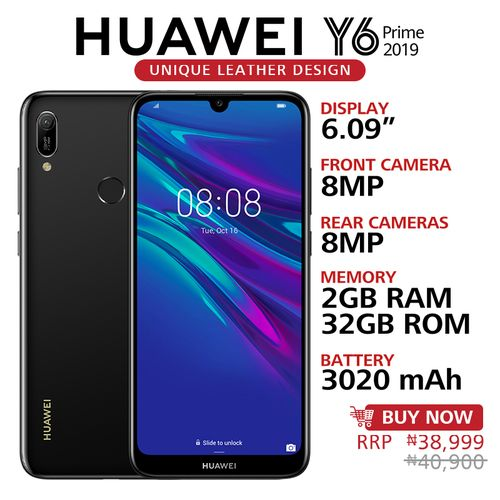 Y6 Prime 2019 6.09-Inch HD+ Dewdrop (2GB,32GB ROM) Android 9.0 Pie, 13MP + 8MP Dual SIM 4G 3020mAh Smartphone - Midnight Black