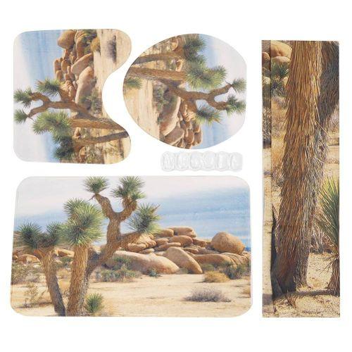 4pcs Tree Pattern Printed Shower Curtain Carpet Cover Toilet Cover Mats Bathroom Mats Set