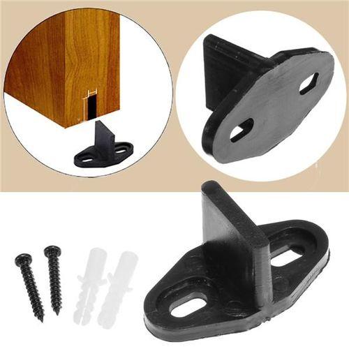 Black Plastic Barn Wood Sliding Door Bottom Floor Guide Hardware With Screws