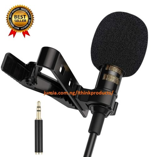 Lapel Microphone Lavalier Condenser Microphone Clip On Mic Interview Audio Recording Microphone