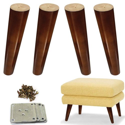 Wood Angled Furniture Legs For Sofa Ottoman 8inch Brown 4pcs