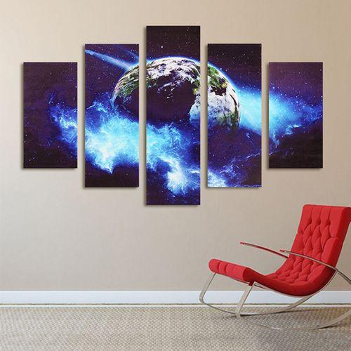 5 Pcs Blue Planet Art Canvas Picture Print Wall Hangings Decor