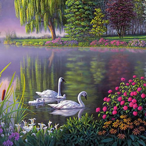 MT Little Swan In The Pond Painting Art Retro Canvas No Frame Beautiful Type G-Colorful